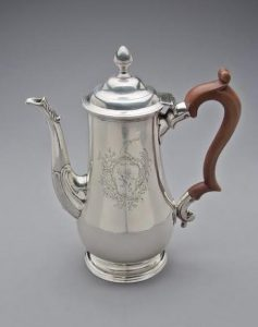 A pear shaped engraved Limerick silver coffee pot by Joseph Johns.