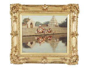 JAMES RAEBURN MIDDLETON (1855-1931) Feeding the Ducks, Burmese River Scene with Pagodas in background