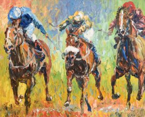 Liam O'Neill (b.1954) Race to the Finish oil on canvas (6,000-8,000)