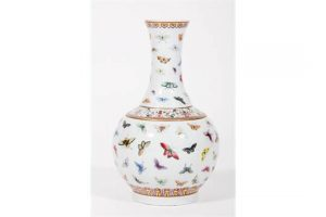 A Chinese porcelain butterfly vase