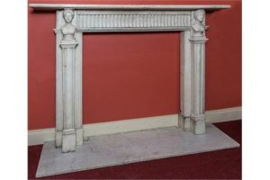 A HEAVY LATE GEORGIAN CARVED WHITE MARBLE MANTEL PIECE