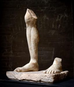 Monumental fragment from a standing male statue Leg and Feet on base Roman 2nd century A.D. Courtesy Axel Vervoodt