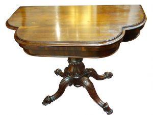 Rosewood, Late 19th Century Fold Over Card Table