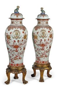 A pair of Famille Rose potiches couvertes c1740-50 Qing Dynasty (100,000-200,000). Courtesy Christie's Images Ltd., 2016