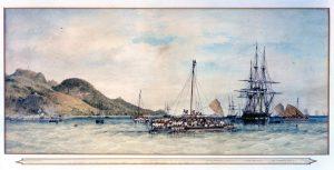 Fijian and Tongoese canoes getting underway near HMS Herald by James Glen Wilson