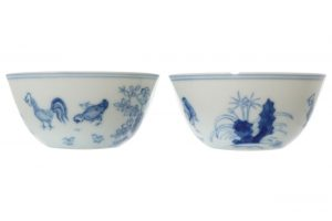 This pair of chicken cups sold for 23,000 at hammer.
