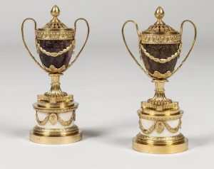 Apter Fredericks of London will bring this pair of  George III mounted blue john perfume burners to TEFAF New York