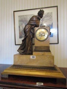 Marble Mounted Figural Bronze Mantle Clock (1,000-1,500)