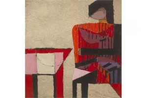 Colin Middleton MBE RHA (1910-1983) STRIPED FIGURE, RED , 1967 (3,000-5,000)