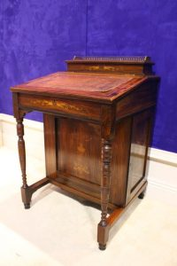 ROSEWOOD & SATINWOOD INLAID, DAVENPORT