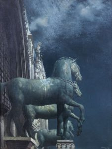 The Bronze Horses of St. Marks by Patrick Hennessy made a hammer price of 32,000 at James Adam.