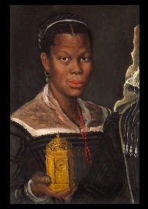 Annibale Carracci (1560-1609) Portrait of an African Woman Holding a Clock, circa 1585